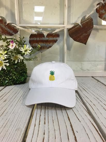 New Pineapple Embroidered White Polo Baseball Cap Low Profile Curved Bill