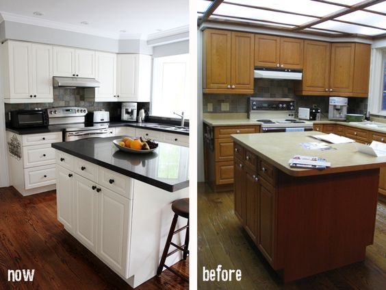 Kitchen updates countertops and the originals on pinterest for Painting kitchen countertops before and after