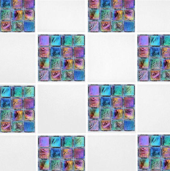 Rainbow Mosaic Tile Transfers Purple Green by TheWallStickerComp