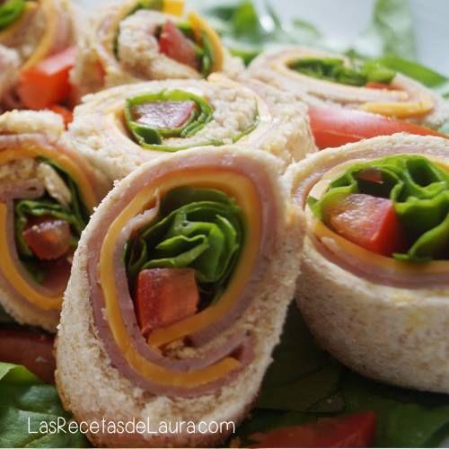 Sandwich En Rollito Receta Sandwiches Saludables Recetas De Comida Faciles Comidas Faciles De Hacer