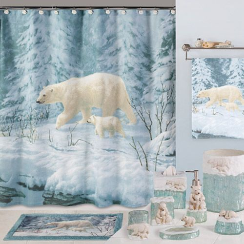 Arctic Arrival Bear Shower Curtain Animal Print Bathroom Accessories I Want It Pinterest