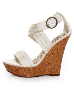 Paprika Garzon Beige Cotton Platform Wedge Sandals - $25.00