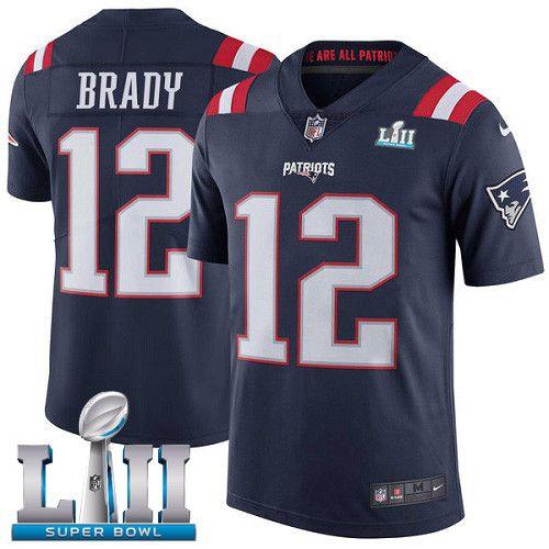 Nike Patriots 12 Tom Brady Navy 2018 Super Bowl Lii Color Rush Limited Jersey Nfl Jerseys Nfl Uniforms Nfl Football Jersey