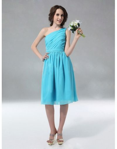 Chiffon One Shoulder Ruched Knee Length Blue Bridesmaid Dress on Sale at Persun.co.uk - $81