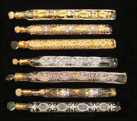 """Throwaway Scent Bottles In the late 18th century, perfume became available to the masses when perfumers and chemists began selling or giving away as samples tiny amounts in inexpensive, disposable containers. These simple, naïve bottles came to be known as """"throwaways"""" since they were generally tossed out when empty. [...]"""