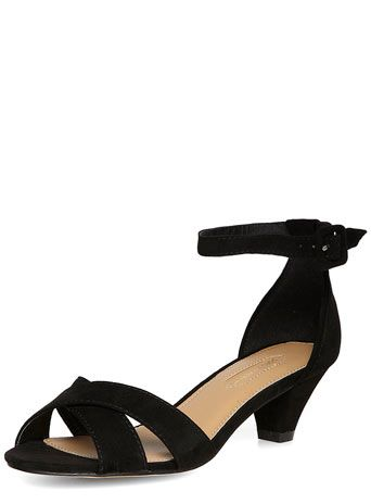Black Peg Heel Strappy Sandals - Low & Mid Heels - Heels - Shoes ...