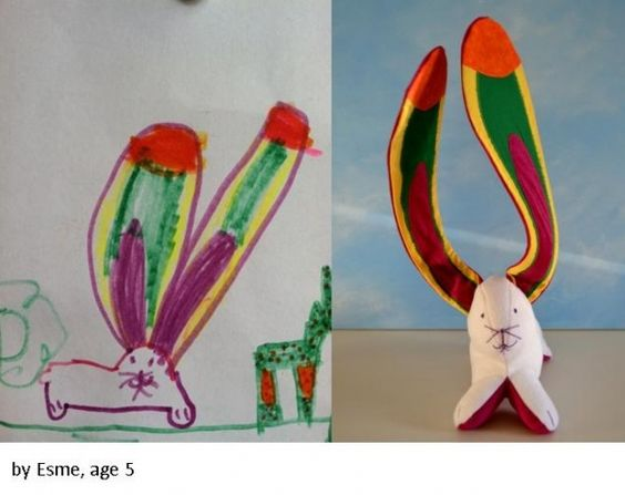 how cute. she turns your child's drawing into a real stuffed animal!