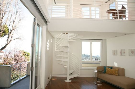 Spiral Stair To Mezzanine And Roof Deck In Master Bedroom Loft Room Ideas Pinterest Roof