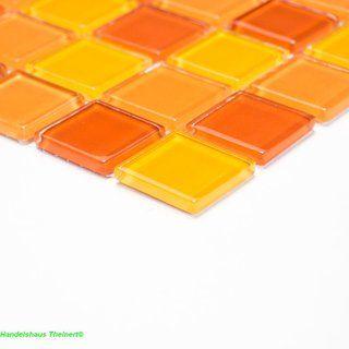 Crystal Glasmosaik mix gelb orange rot 2,5 x 2,5 x 0,4 cm