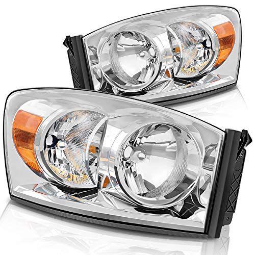 Headlight Assembly For 06 08 Dodge Ram 1500 06 09 Dodge Ram 2500 3500 Replacement Headlamp Driving Light Chromed Dodge Ram 1500 Dodge Ram Cool Car Accessories