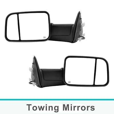 For 10-15 Ram Chrome Side Mirrors Power Heated LED Puddle Lights Towing Mirror