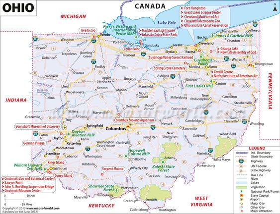 Ohio map showing the major travel attractions including cities – Ohio Tourist Attractions Map