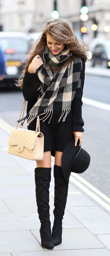 #fall #fashion / plaid scarf: