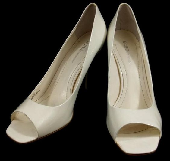 BCBGeneration Heels Solid White Patent Leather OpenToe Pumps Shoes Womens 10 B #BCBGeneration #PumpsClassics #everyday