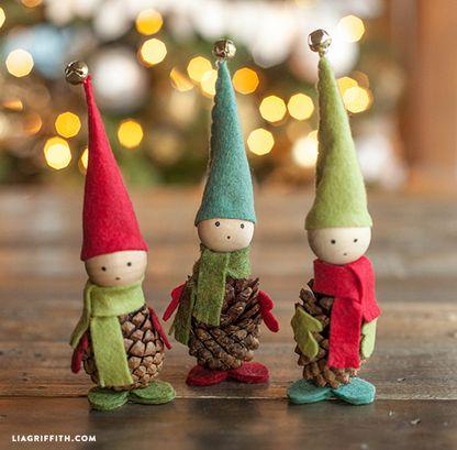 insieme creare: Come fare elfi con le pigne: decorazioni Natalizie