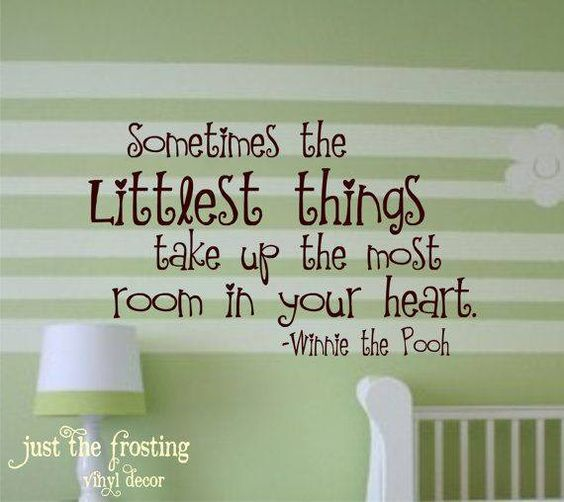 Pooh quote - Sometimes the littlest things will take up the most room in your heart.
