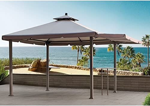 New Sunjoy 110109170 Original Replacement Canopy Deluxe Version Gazebo Awning 10x10 Ft L Gz1023pst A Sold Menards Light Grey Online Prettytoppro In 2020 Backyard Gazebo Patio Gazebo Gazebo
