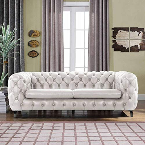 White Leather Chesterfield Sofa Couch W Tufted Arms Modern Tufted Wide Top White Leather Chesterfield Sofa Leather Chesterfield Sofa Leather Chesterfield Couch