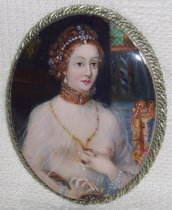 """Lacquer brooch Mother of pearl """" Portrait Diane de Poitiers """" Hand Painted Pin"""
