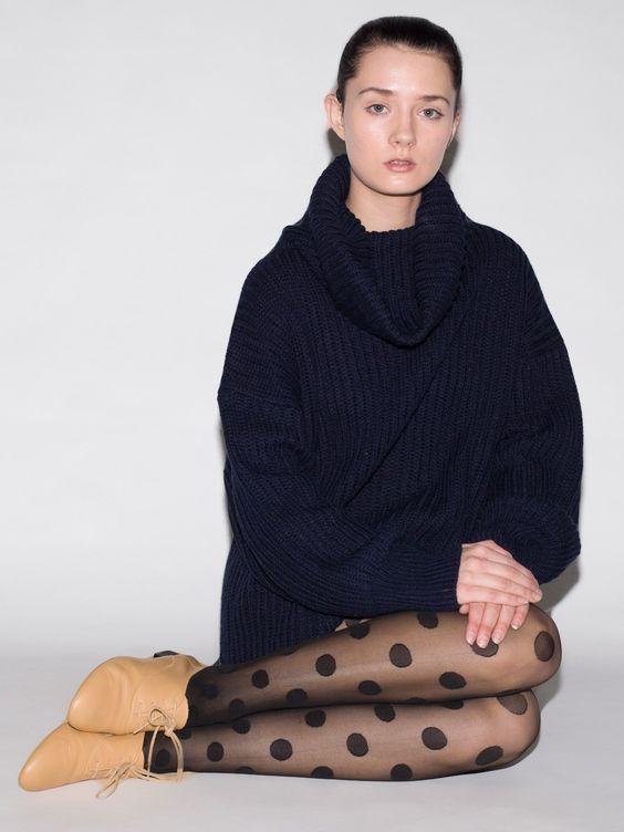 The Unisex Oversized Fisherman Turtleneck Sweater and the Sheer Luxe Polka Dot Shapes Pantyhose by #AmericanApparel.  #Fall #sweater #pantyhose