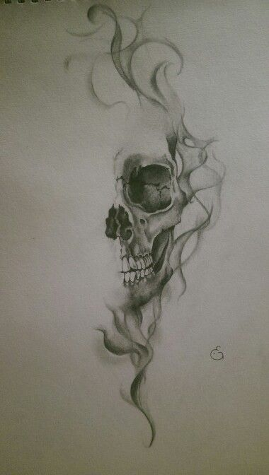 Skull with smoke effect || realistic drawing by Eline Groeneveld