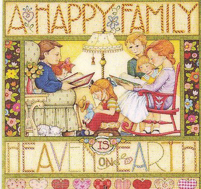 HAPPY FAMILY HEAVEN-Handcrafted Fridge Magnet-Using art by Mary Engelbreit