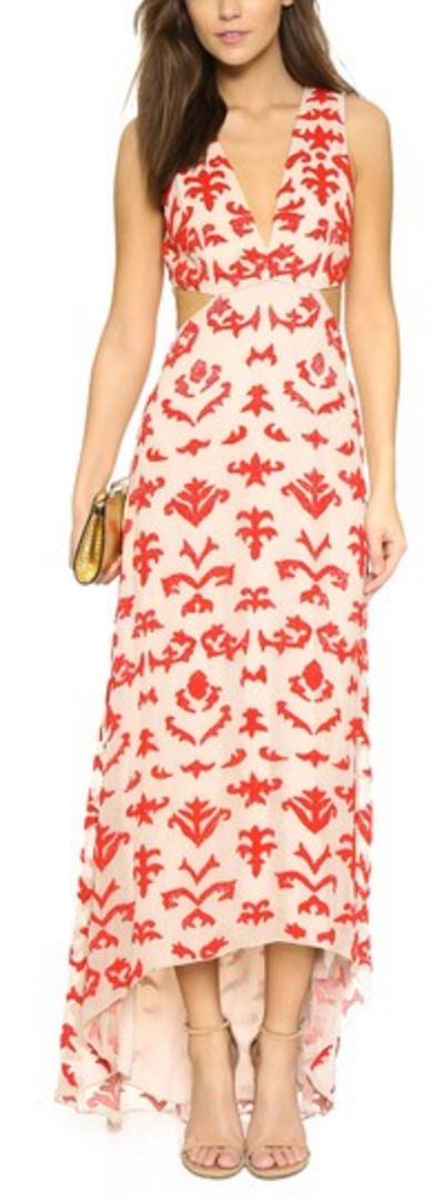 Red and White Embroidered Hi-Lo Dress
