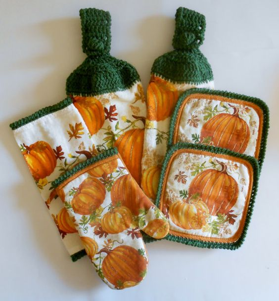 good Pumpkin Kitchen Decor #4: Pumpkin Kitchen Set, Crochet Hanging Towels, Pot Holders, Oven Mitt, Dish  Cloth