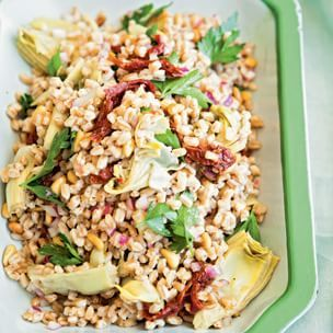 farro salad with artichoke hearts and sun dried tomatoes