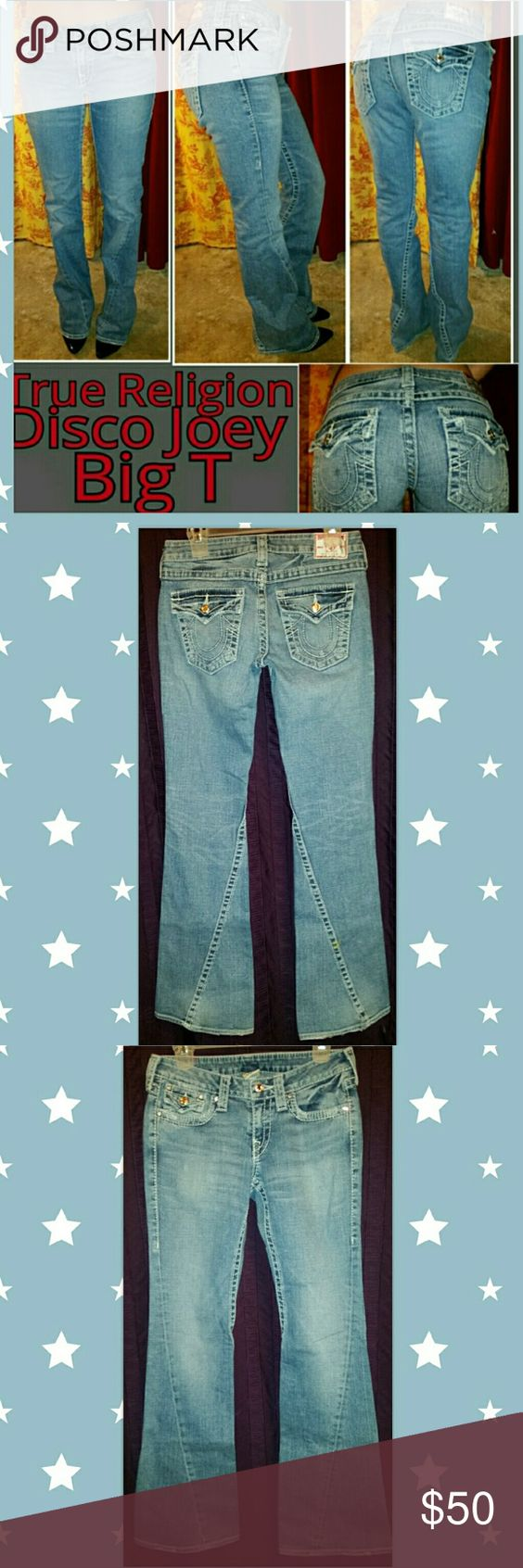"Shine Like ? Diamond Disco Joey Big T Swarovskis FLAWLESS swarovski buttons adorn these True Religion Joey Big T flares, light wash with  beautiful flaring as the denim distresses. Minor wear on hems see pictures. Tag Sz 28 but mate like a 27 in a cotton/Elastin stretch denim.  Waist 14.5"" across back, 15""across aligned waistband 7"" rise 38"" hips 34"" inseam 20""leg opening True Religion Jeans Flare & Wide Leg"