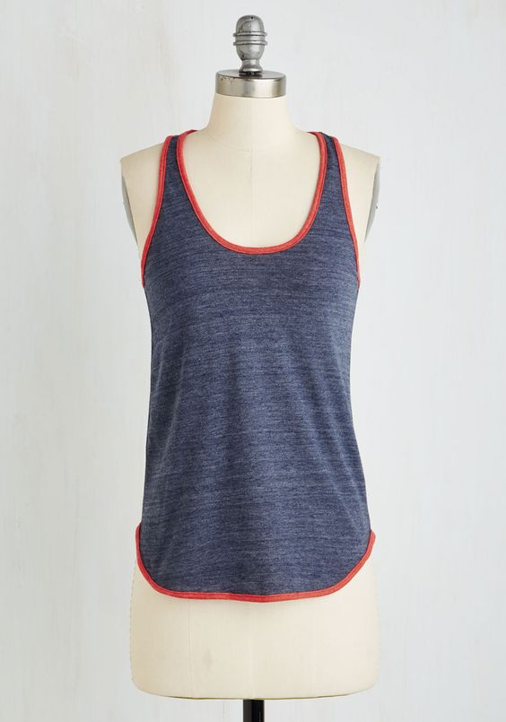 Yard Work and Play Top in Heather - Blue, Solid, Casual, Tank top (2 thick straps), Summer, Knit, Better, Scoop, Mid-length, Jersey, Variation