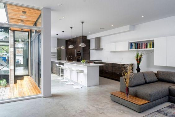 moderne wohnzimmer mit offener kuche einrichtungsideen fr