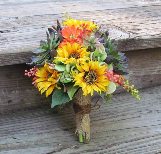 Pinterest Fall Wedding Flowers: Sunflower & Succulents Fall Wedding Bouquet With