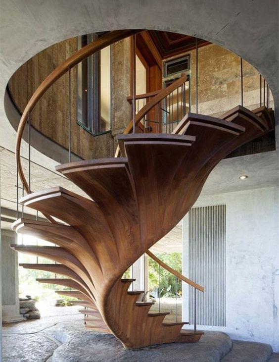 Treppen Design im Trend funktionale Raumspartreppe mit Holzstufen