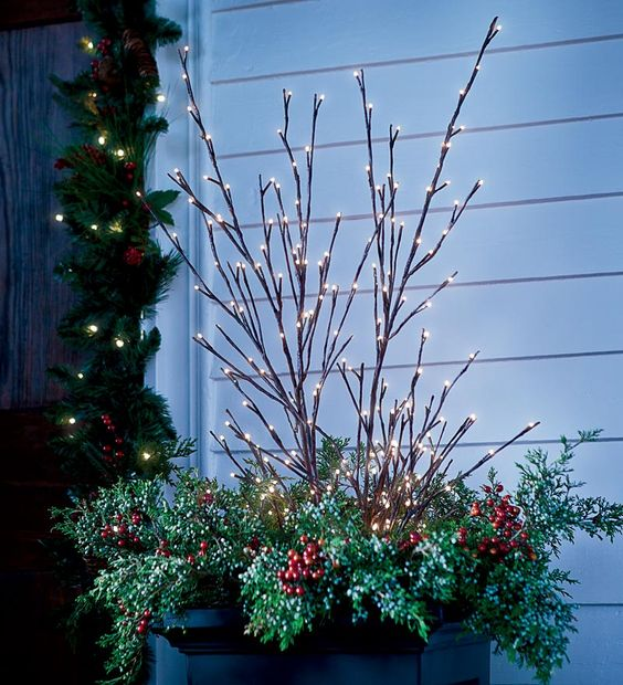 Lighted Tall Indoor Willow Twig Decorations