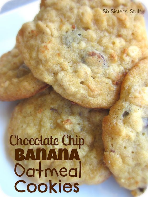 Chocolate Chip Banana Oatmeal Cookies from SixSistersStuff.com.  The perfect way to use up your brown bananas! #recipes #cookies