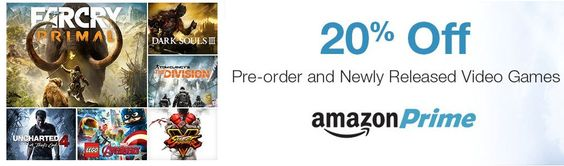 20% Off Video Game Preorders For Amazon Prime Members - http://www.swaggrabber.com/?p=289700