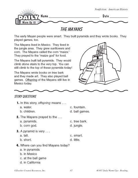 Mayan Worksheets For Kids Worksheets For Kids Math Worksheets History Worksheets