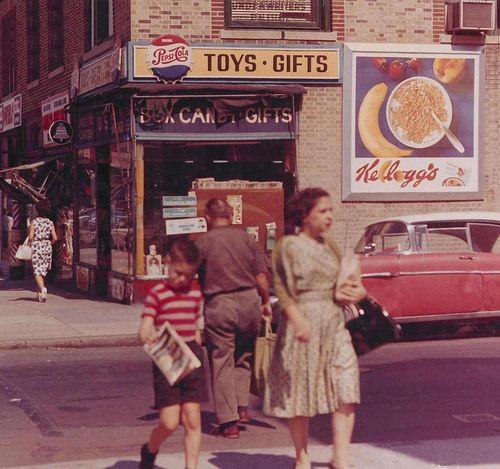 1950s New York City street scene.