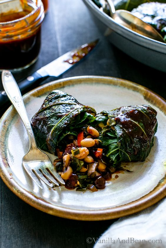 Tangy, hearty and pure comfort food! BBQ Black Eyed Pea Collard Rolls | Vegan, Vegetarian, Recipe: