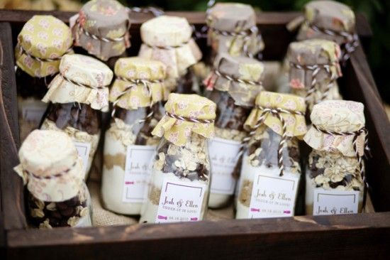 old milk bottles filled with chocolate chip cookie ingredients... cute again for party favors: