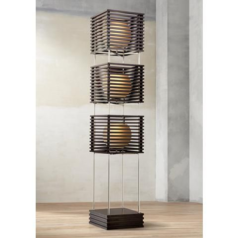 This Stunning Contemporary Floor Lamp Features Three Espresso Finished Slatted Wood Boxes With Glowing Globes Of Frosted Glass Floor Lamp Glass Floor Lamp Lamp