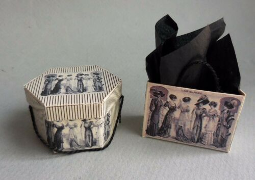 DOLLHOUSE MINIATURE ~ HALLOWEEN HAT BOX ~ LORRAINE SCUDERI