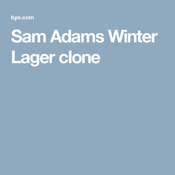 Sam Adams Winter Lager clone