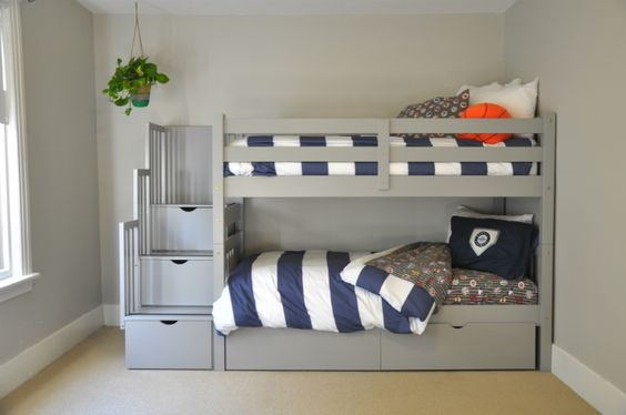 Gray Bunk Beds with Stairs, Storage Drawers, and Under Bed Storage Drawers: Love how easy these are for kids to climb up and down the bunk stairs and they are so sturdy! And they look great with blue and white striped duvet covers.: