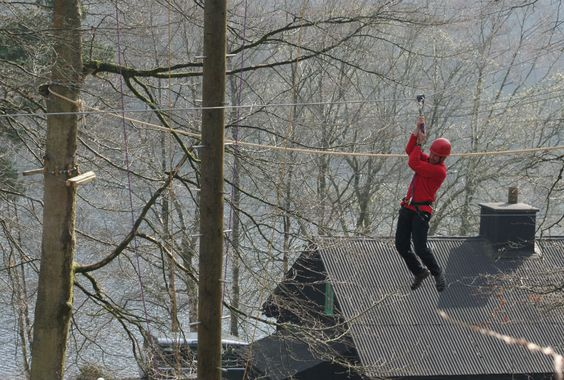 Zip line: Tree Top Challenge, Elan Valley Lodge