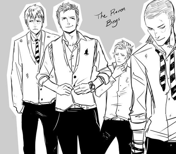The Raven Boys by Maggie Stiefvater Artwork by Cassandra Jean: http://cassandrajp.tumblr.com/post/38242076261/the-boys-a-la-the-raven-boys-by-mstiefvater#_=_