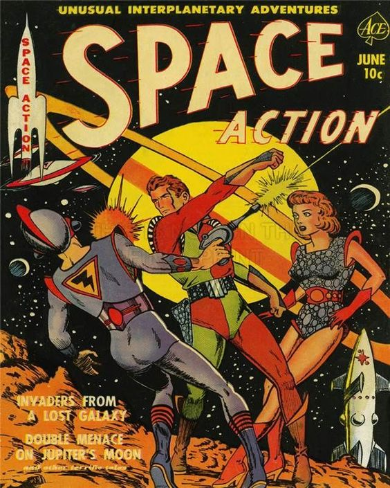 COMIC BOOK  SUPER HERO COVER SPACE ACTION 2 VINTAGE RETRO POSTER PRINT 1262PY