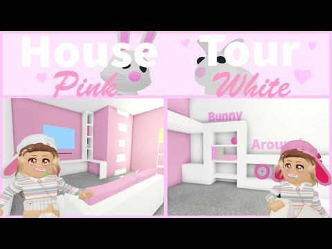 House Tour Pink White Bunny House Adopt Me Roblox In 2020