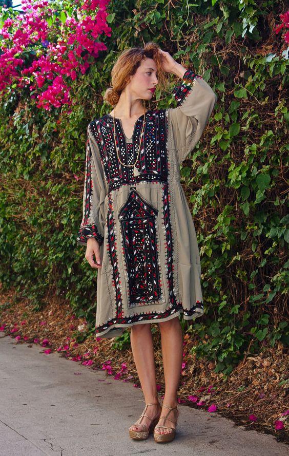 My Moss Green Afghani Gypsy Dress by TavinShop on Etsy